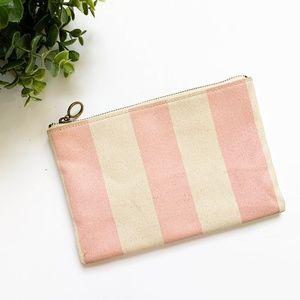 Madewell Pink Striped Canvas Zipper Clutch Pouch